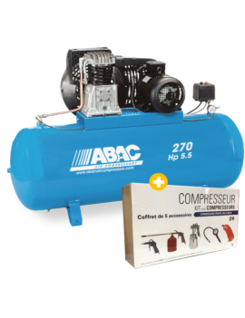 Compresseur 270L 5.5CV B4900F/270 FT 5.5 + Kit 5 pièces...